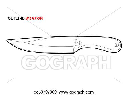 Vector outline illustration . Knife clipart metal