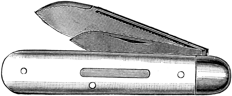 Vintage small pocket engraving. Knife clipart metal