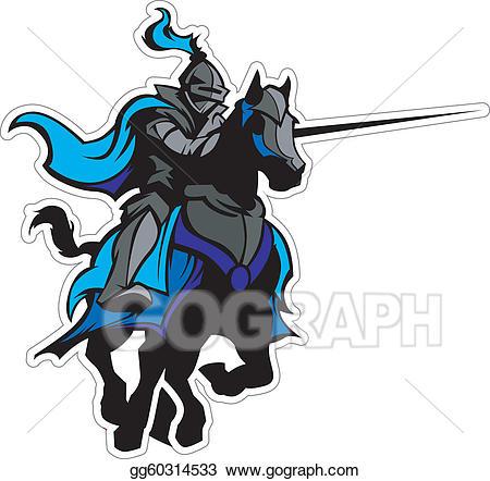 Vector illustration jousting mascot. Knight clipart blue knight
