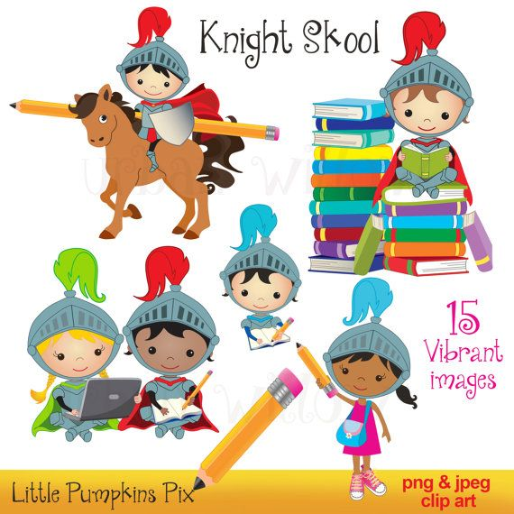 Cute school clip art. Knights clipart book