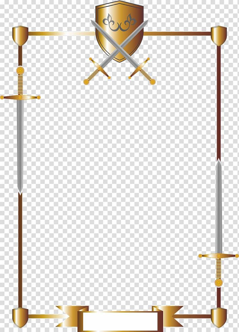 Long sword frame illustration. Knight clipart border
