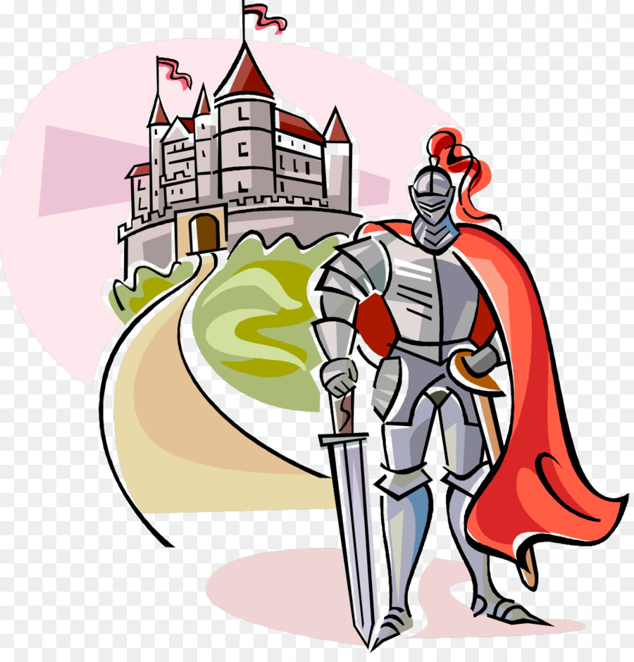 Castle cartoon knight illustration. Knights clipart middle ages