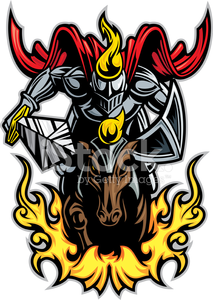Knight charging on horse. Knights clipart charger