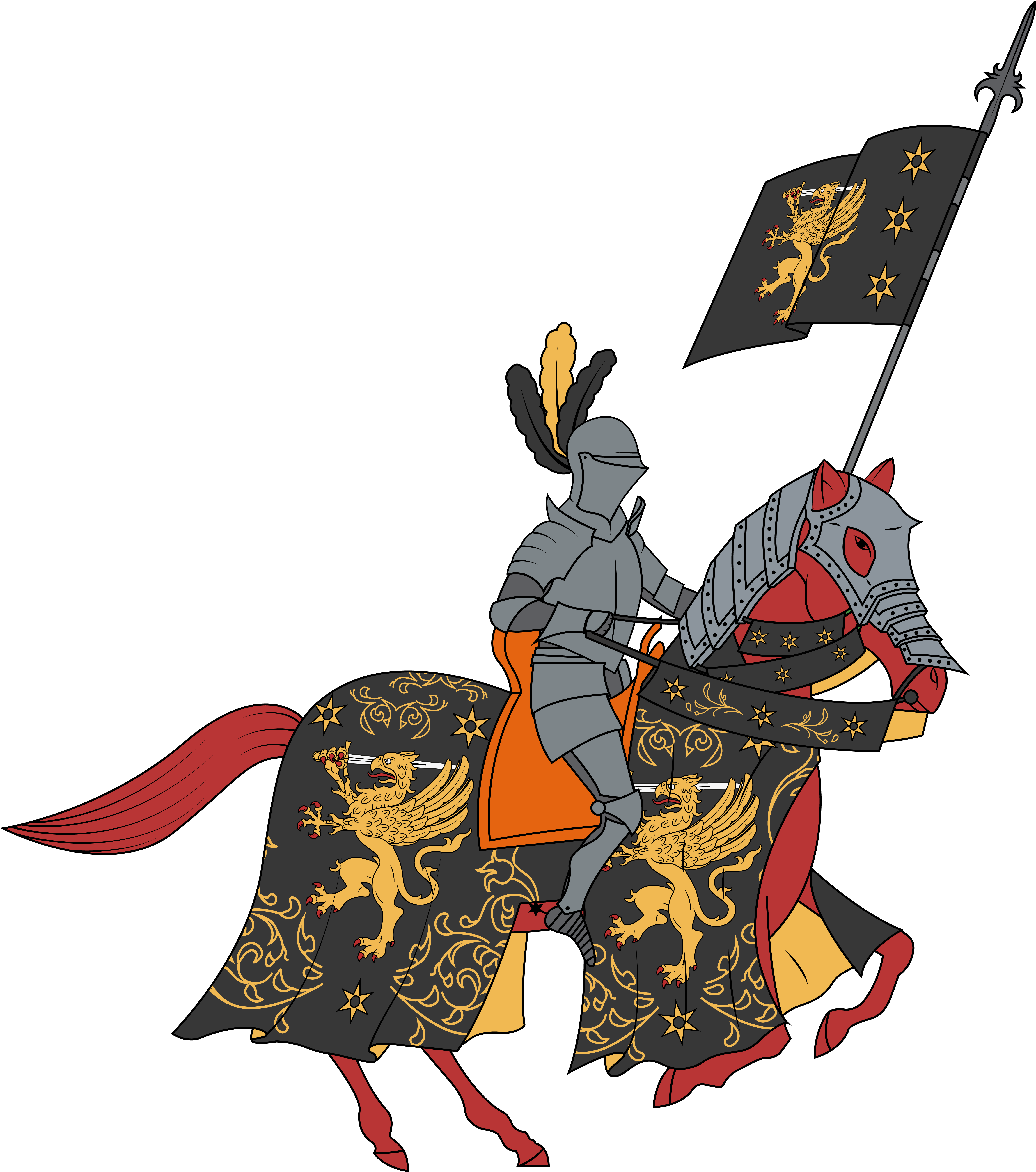 Knight renaissance frames illustrations. Knights clipart charger
