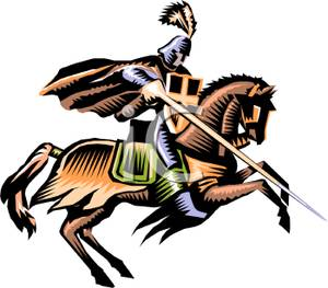 Knights clipart charger. A knight riding charging