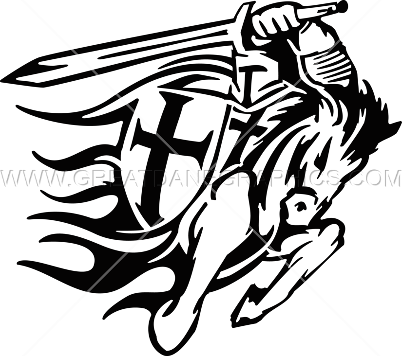 On horse production ready. Warrior clipart crusader