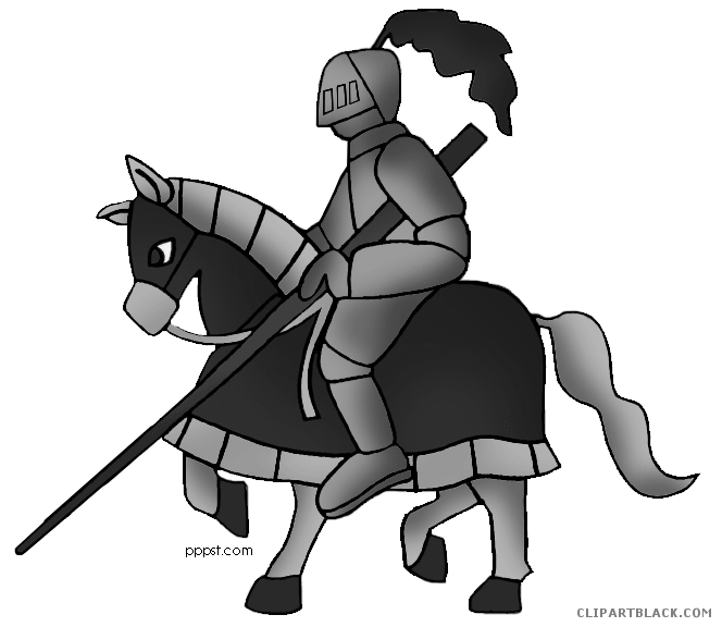 Knight on a clipartblack. Knights clipart horse line drawing