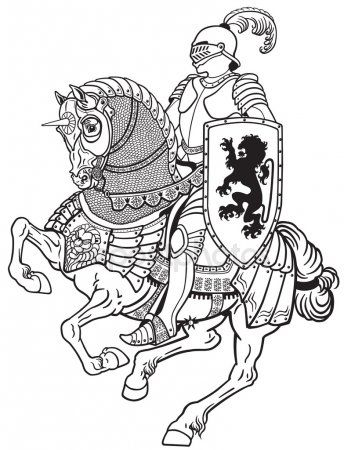 Knight clipart horse line drawing. Medieval on black white