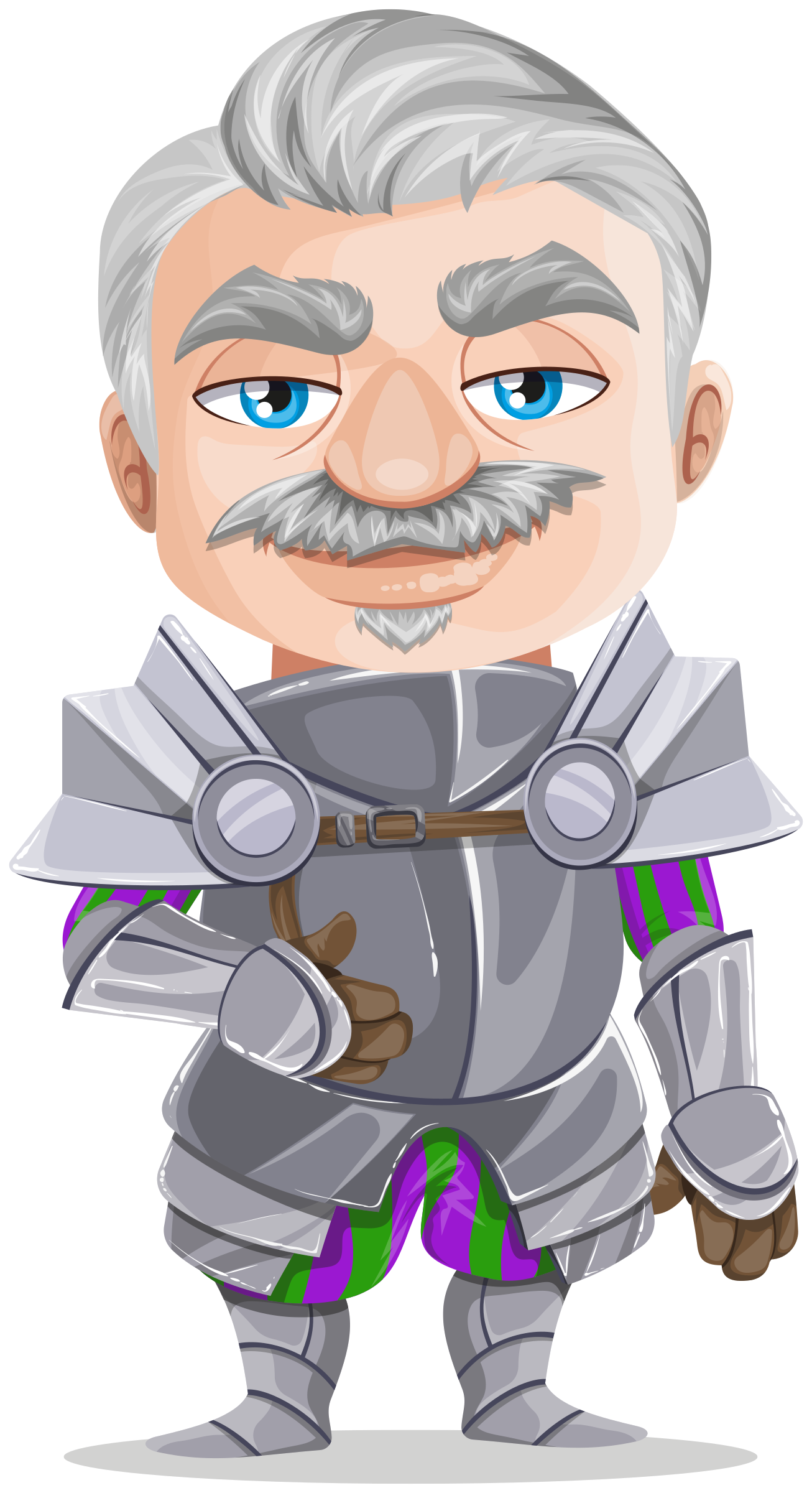 Senior warrior in without. Medieval clipart knight armor