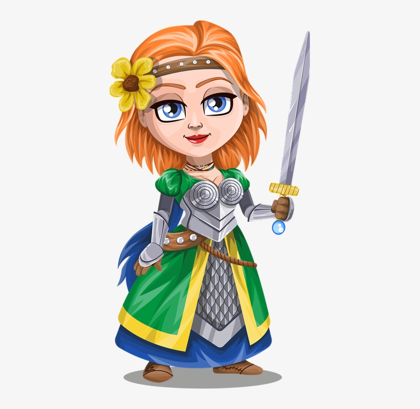 With sword and flower. Knight clipart lady knight