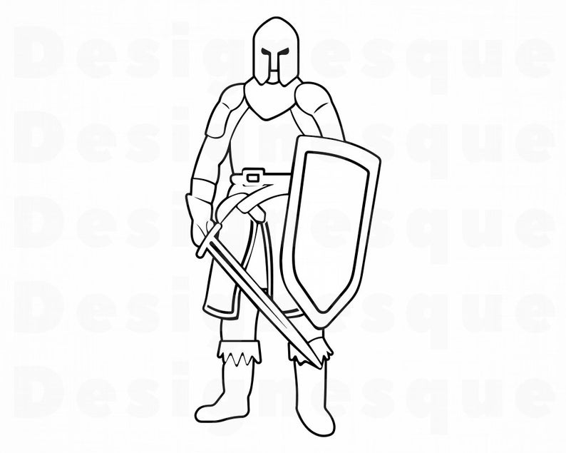 Knight clipart outline knight. Svg warrior files for