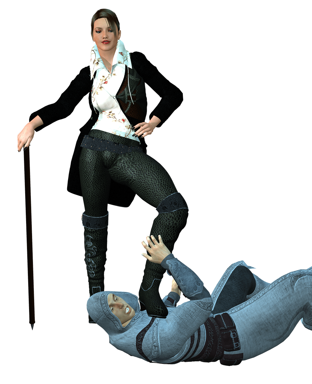 Musketeer foot on knight. Knights clipart woman