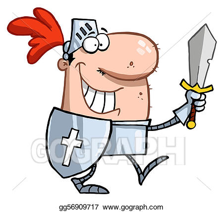 Vector art smiling knight. Knights clipart knighted