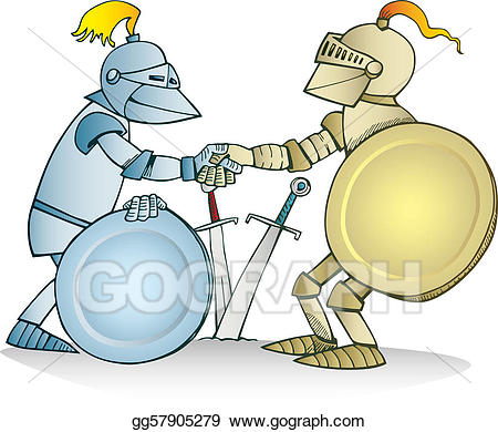 Knights clipart two knights. Vector art agreement eps