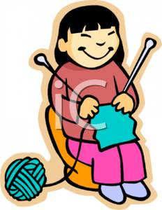 Knitting clipart. Girl download