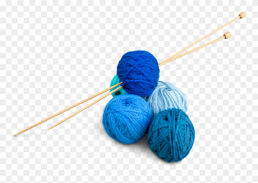 Transparent background . Knitting clipart blue yarn