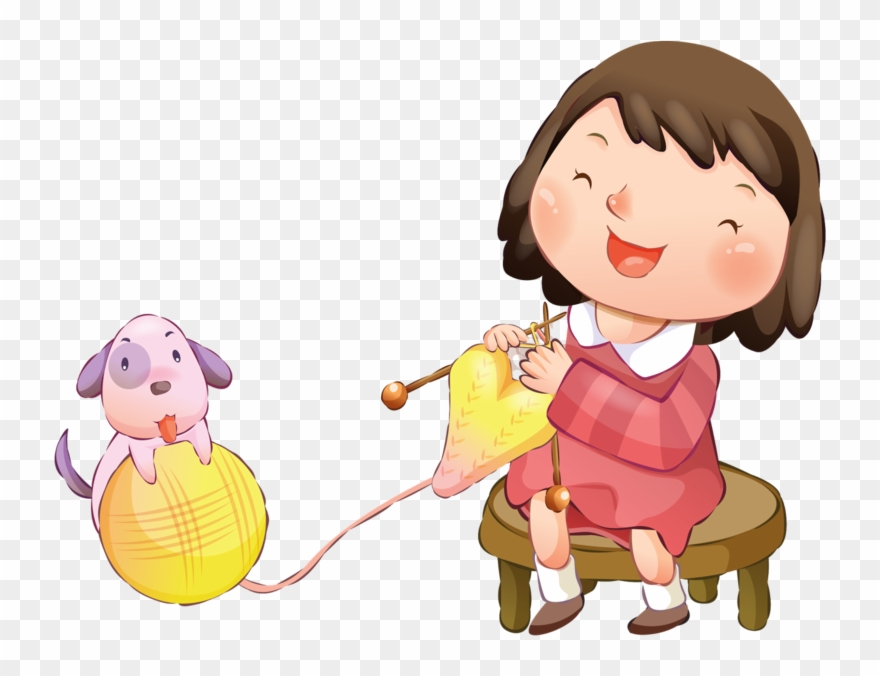 Knitting clipart child. Pinclipart