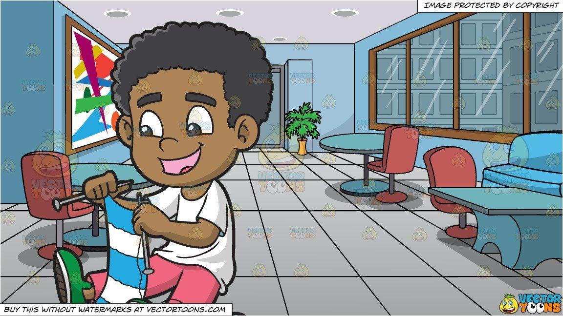 Knitting clipart child. Cartoon a happy black