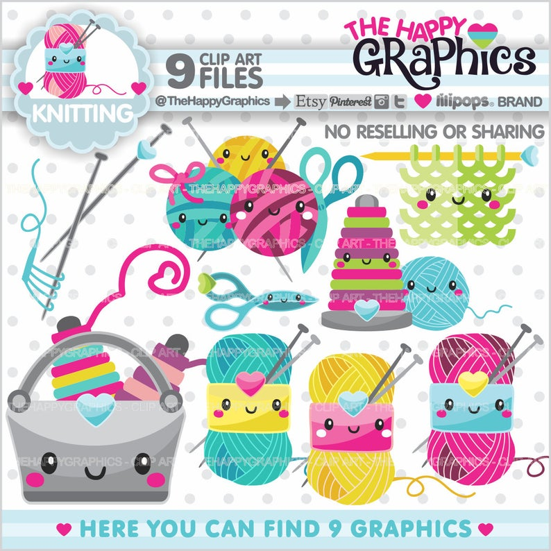 Knitting clipart craft item. Graphics commercial use handmade