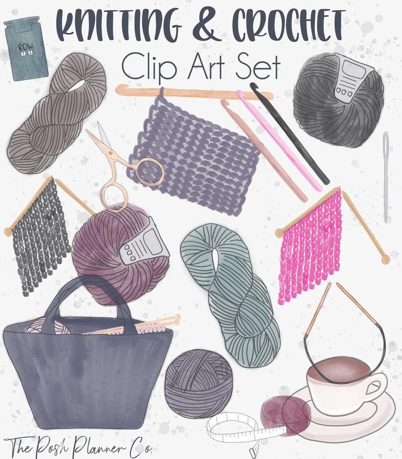 Crochet yarn clip art. Knitting clipart craft item