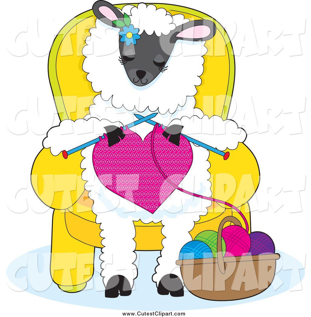 Sheep and yarn cartoon. Knitting clipart cute