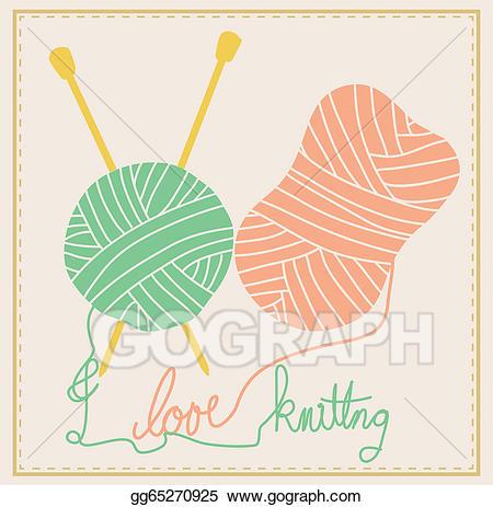 Vector illustration eps gg. Knitting clipart cute