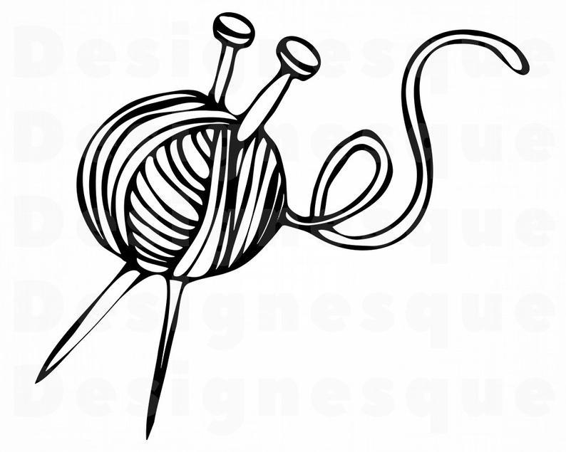 Svg yarn sewing files. Knitting clipart file