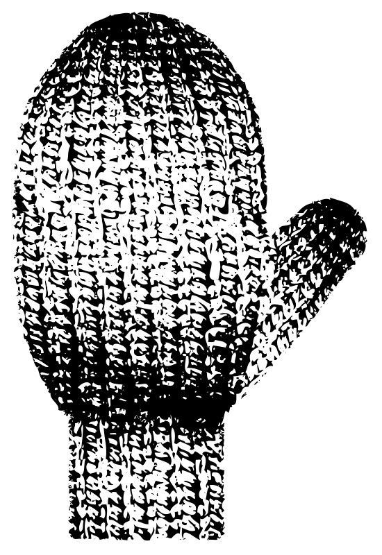 With texture medium image. Mittens clipart knitted mitten