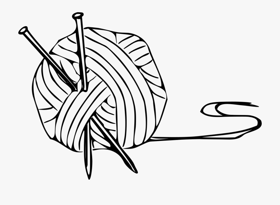 Black and white clip. Knitting clipart yarn