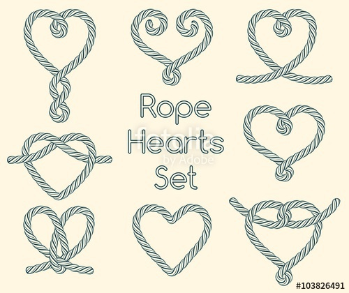 Knot clipart rope heart. Set of hearts decorative