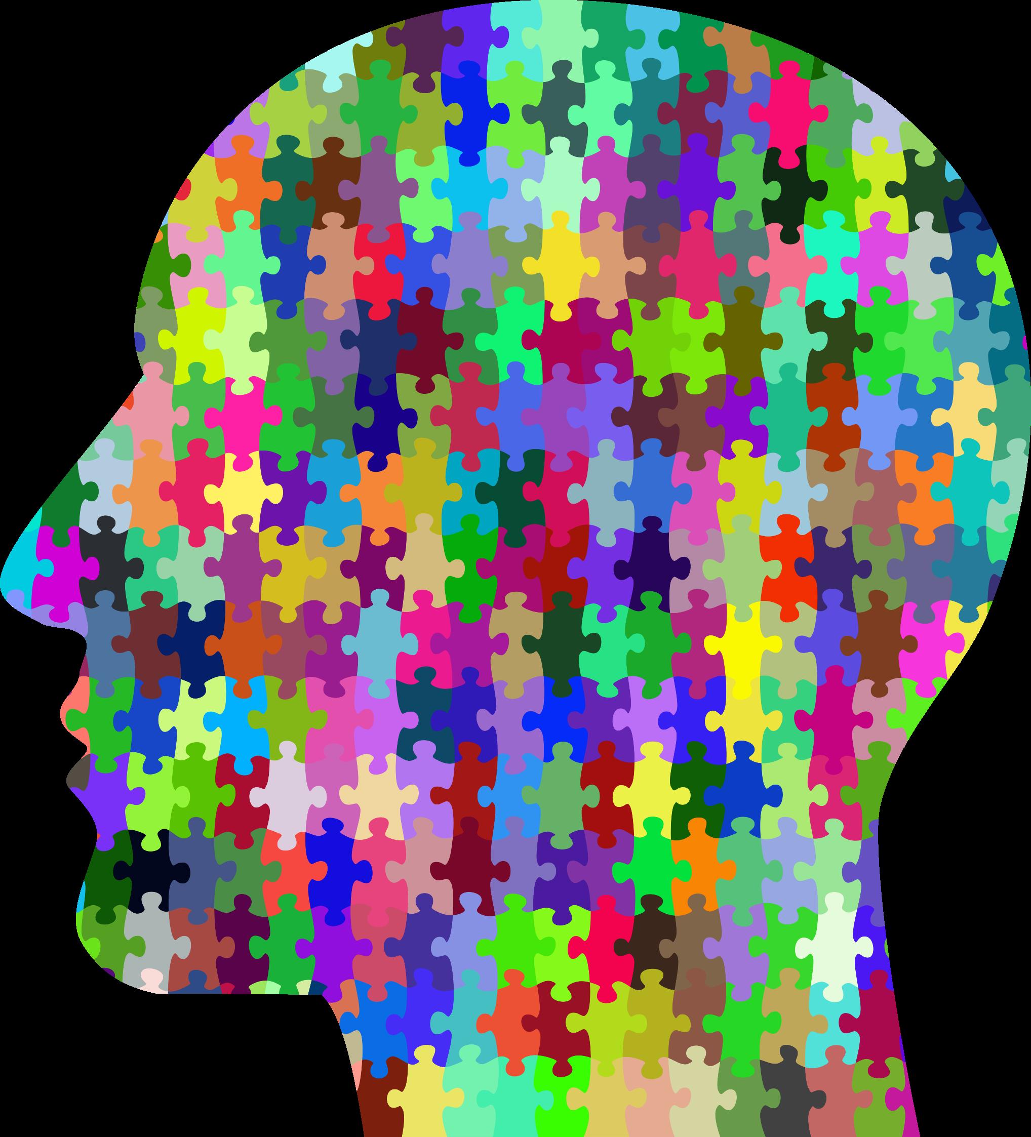 Prismatic head big image. Puzzle clipart man