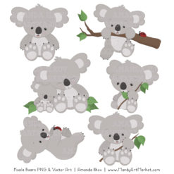 Koala clipart. Cute and patterns