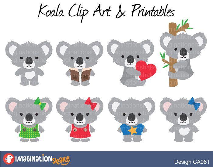 Koala clipart aussie. Clip art printables set
