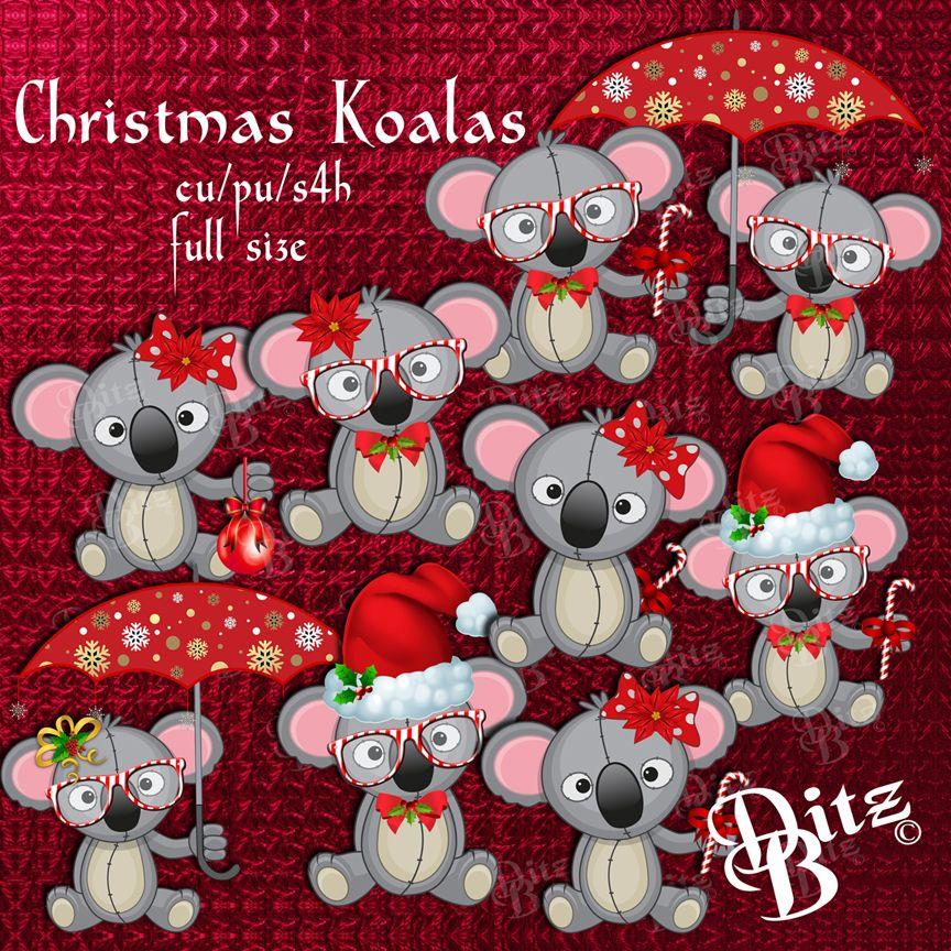 Koalas commercial use digital. Koala clipart christmas