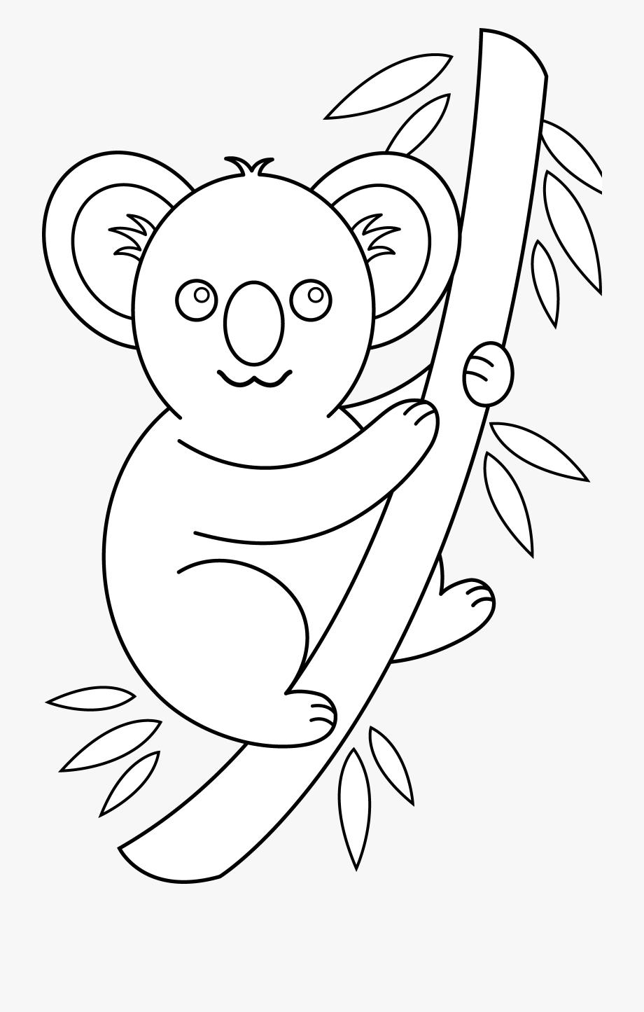 Outline face black and. Koala clipart easy