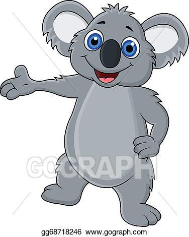 Koala clipart happy. Vector stock cartoon waving