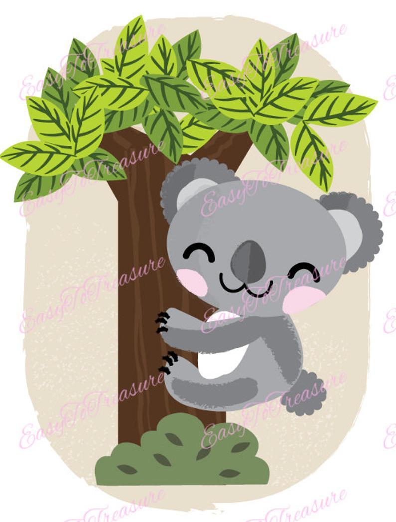 Digital download baby bear. Koala clipart koala hug