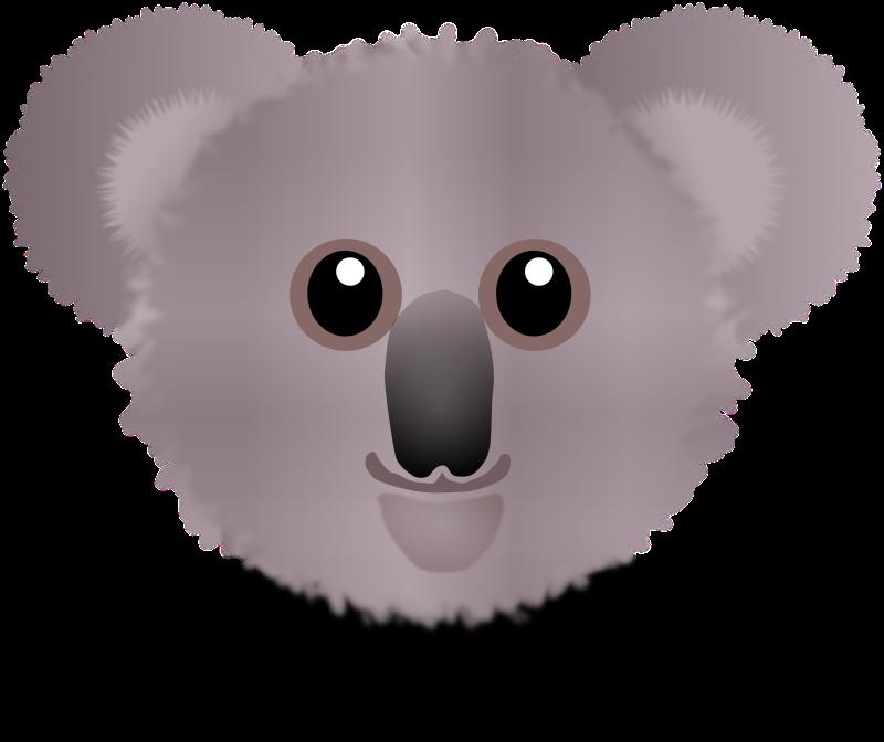 Koala clipart outlines. Funny face cartoon medium