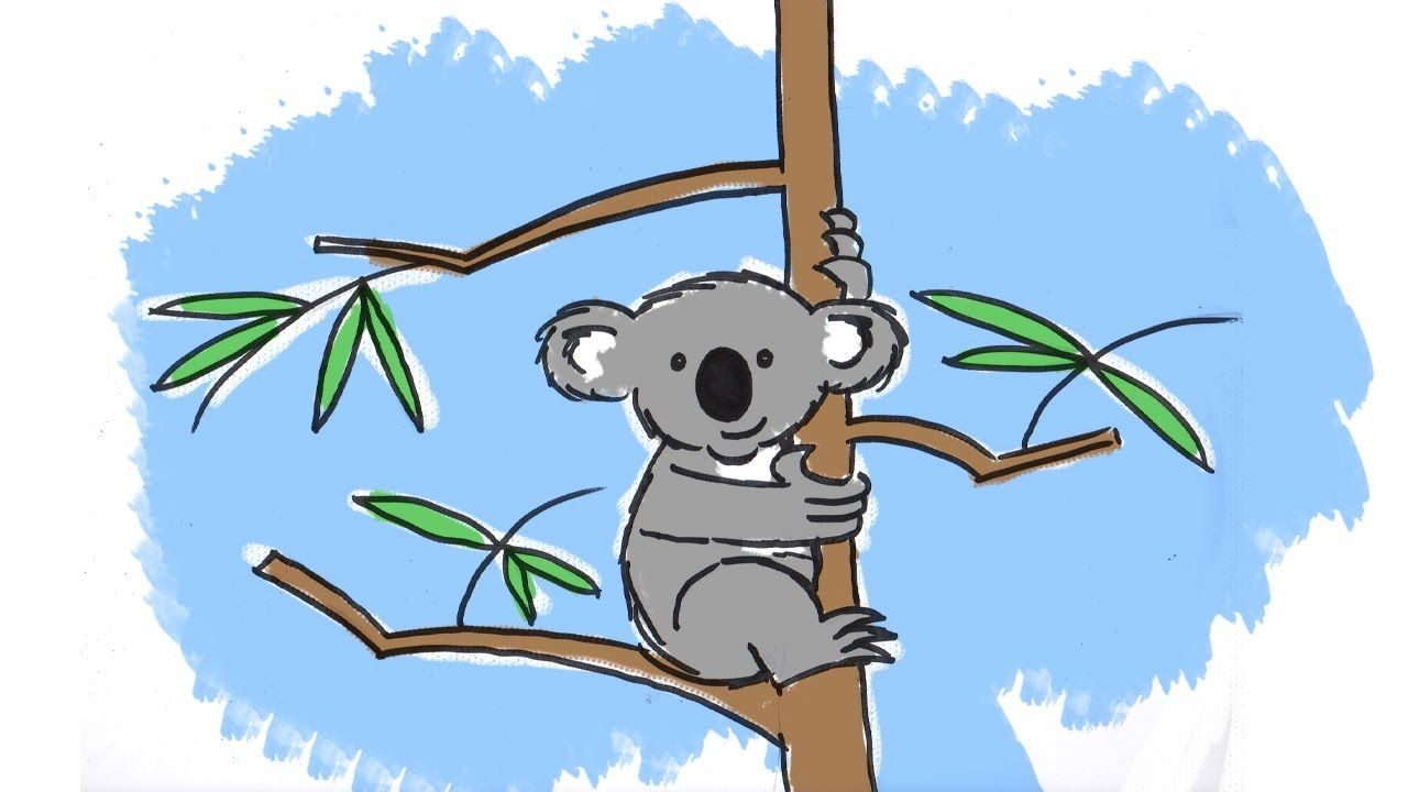 Koala clipart tree drawing. How to draw a