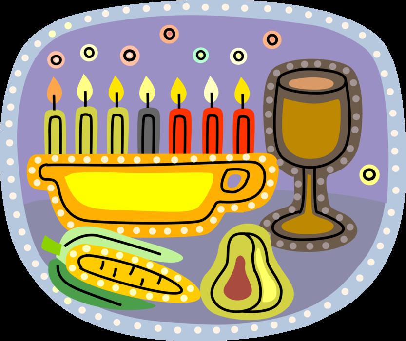 Kwanzaa clipart kinara. Candle with corn pear