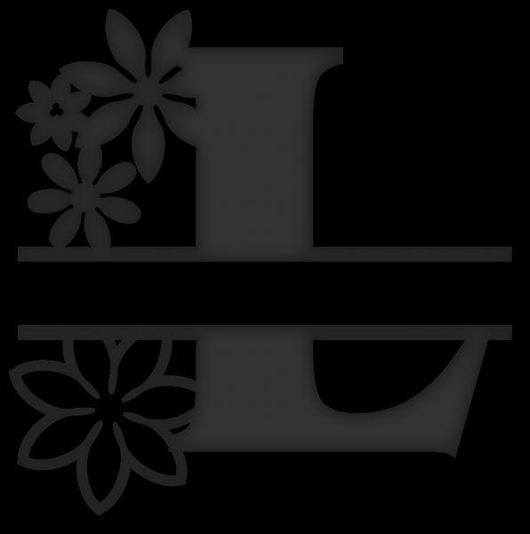L clipart monogram. Flower split snapdragon snippets