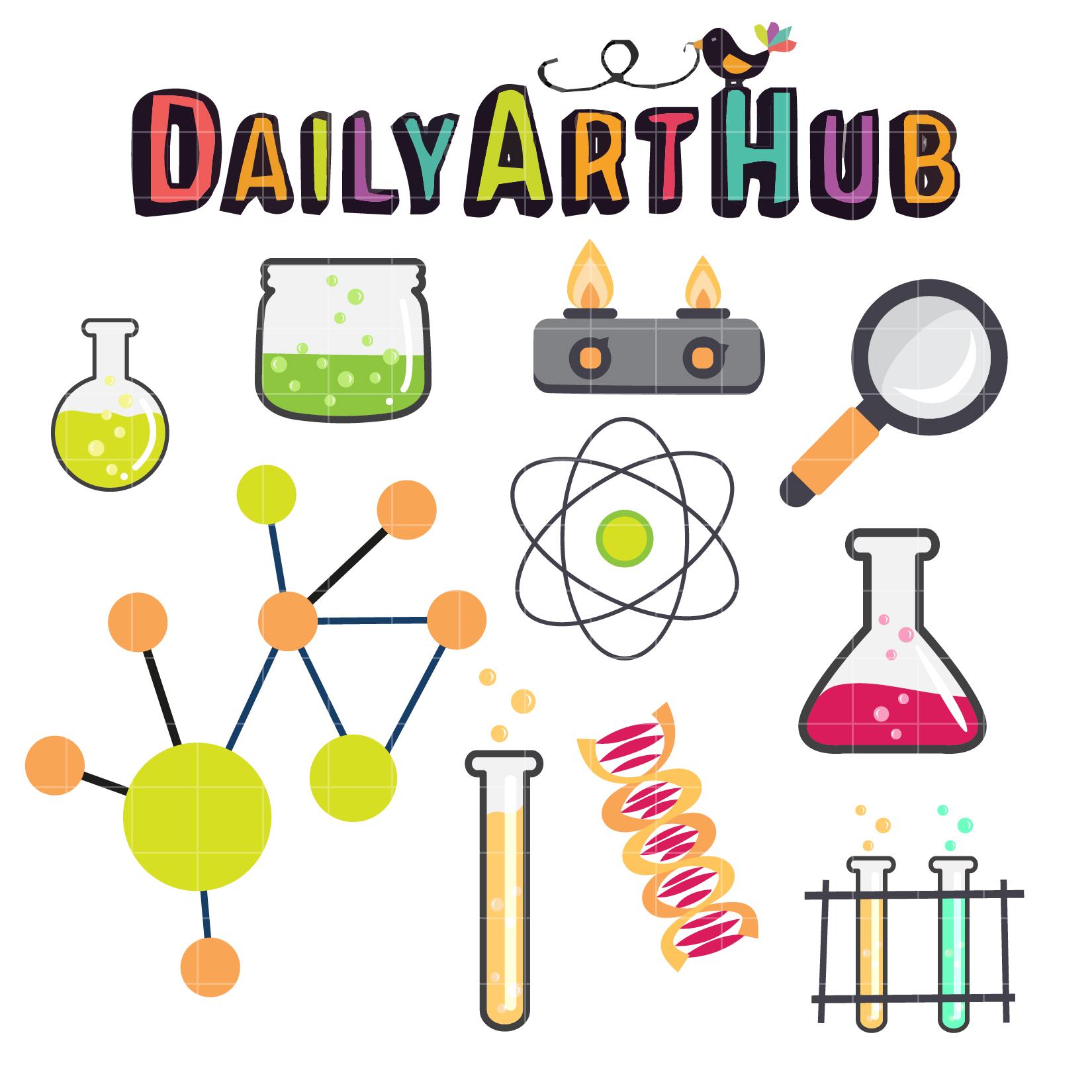 Science clip art set. Lab clipart