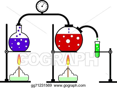 Lab clipart chemical reaction. Vector stock illustration