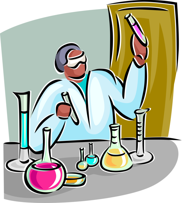 Lab clipart lab tech. Technician with glassware vector