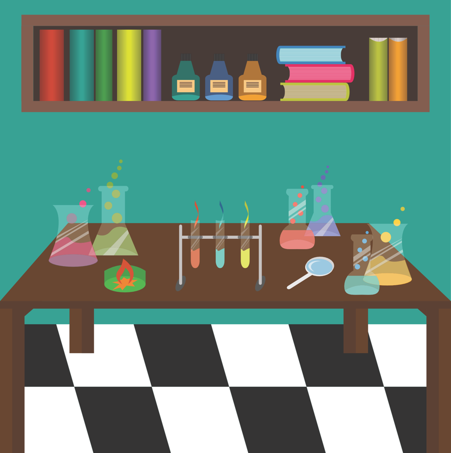 Chemistry cartoon games . Lab clipart science room