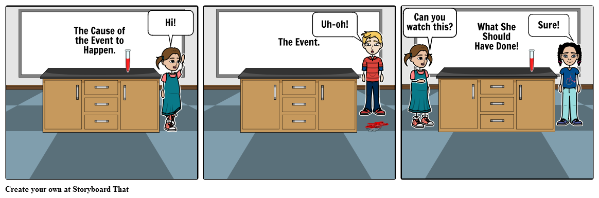 Lab clipart science room. Safety mistake at storyboard