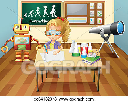 Lab clipart science room. Vector art a girl