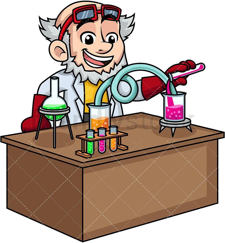 Crazy scientist working in. Lab clipart vector