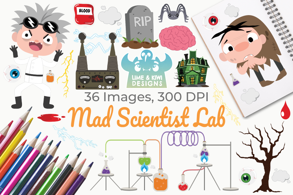 Lab clipart vector. Mad scientist instant download