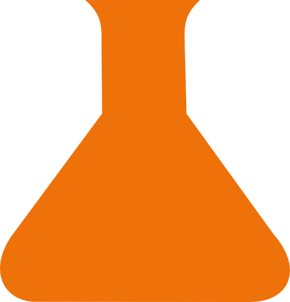 Orange science flask clip. Lab clipart vial
